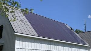 solar panels on metal roof