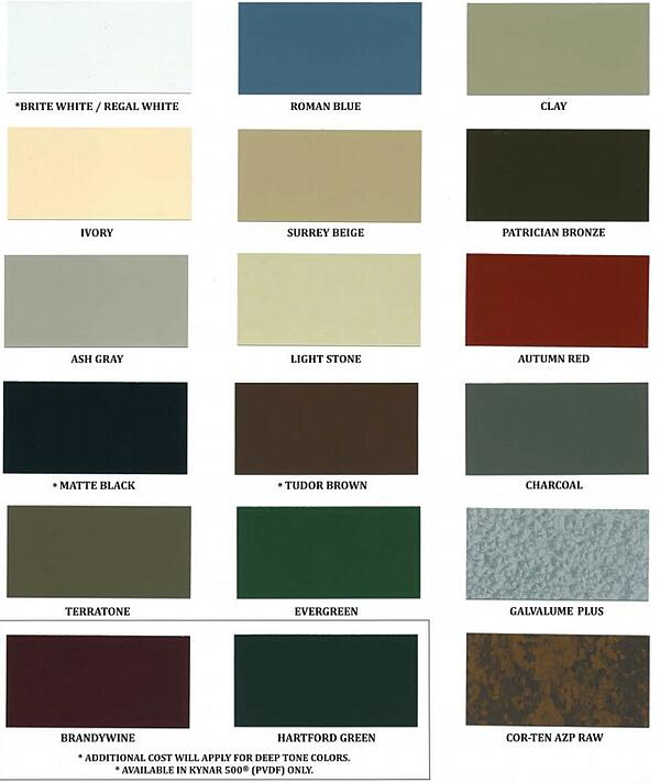 standard metal roof colors