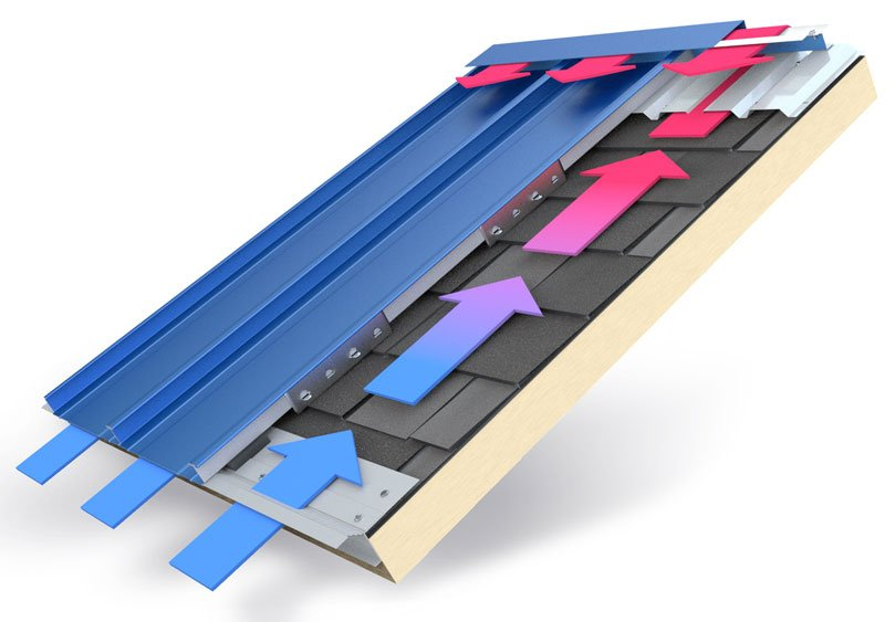 sheathing ventilation makes metal roofs energy efficient