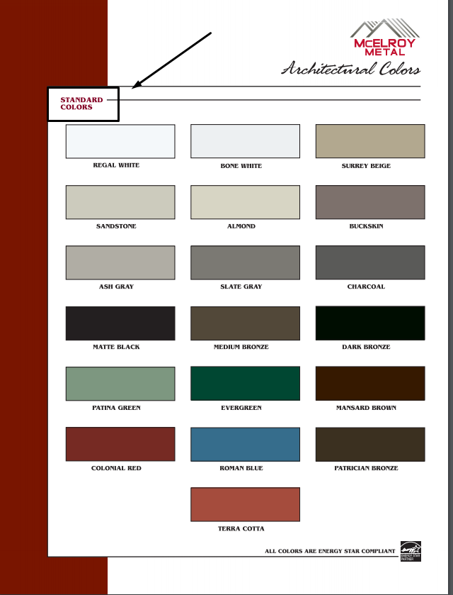 What is the cost difference between standard Kynar color, Premium Kynar Color, and Metallics for metal roofing and siding?