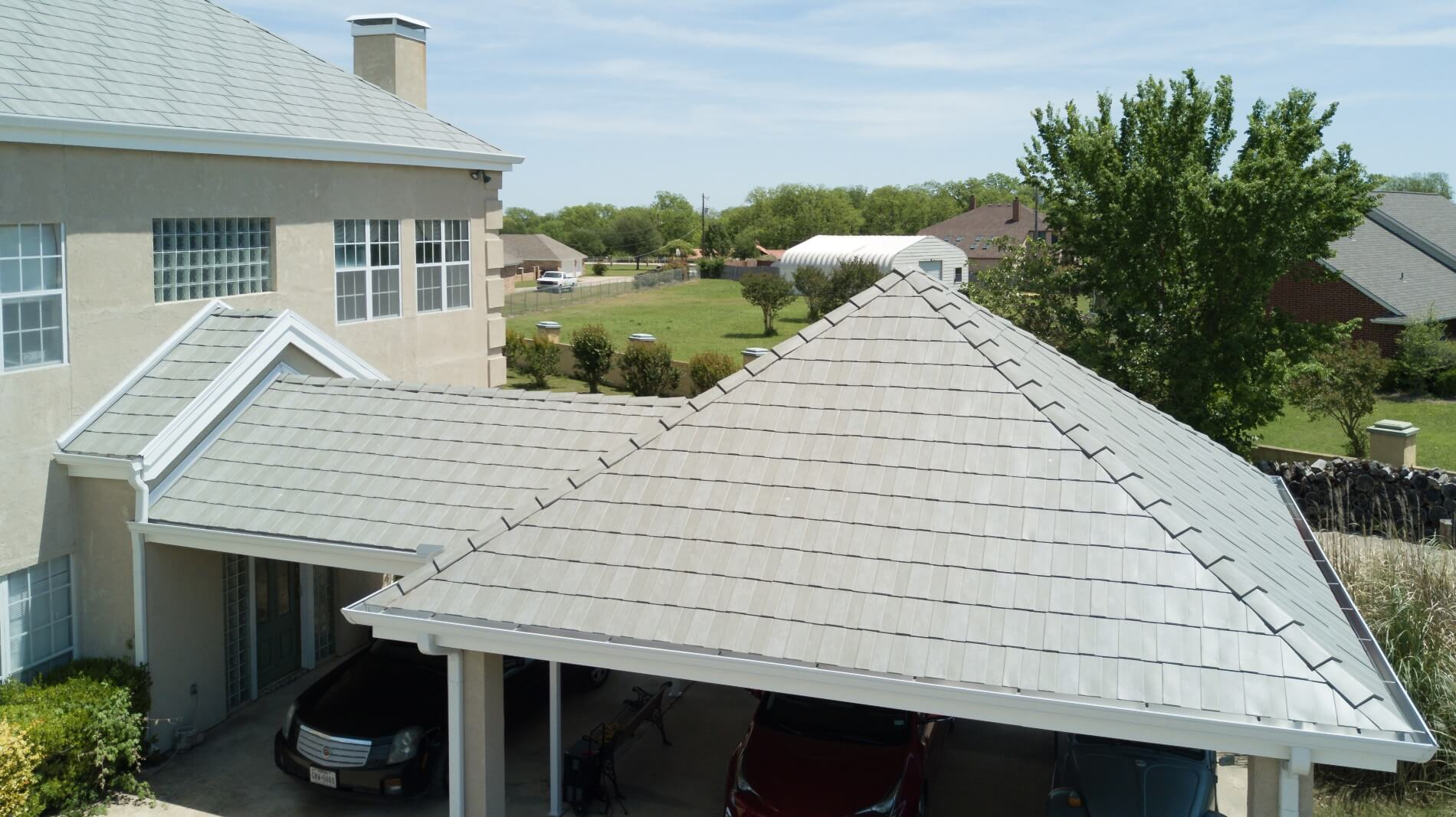 Texas homeowner insists on Milan slate metal roof profile